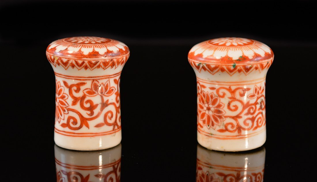 Pair Chinese Iron Red Porcelain Scroll Weight