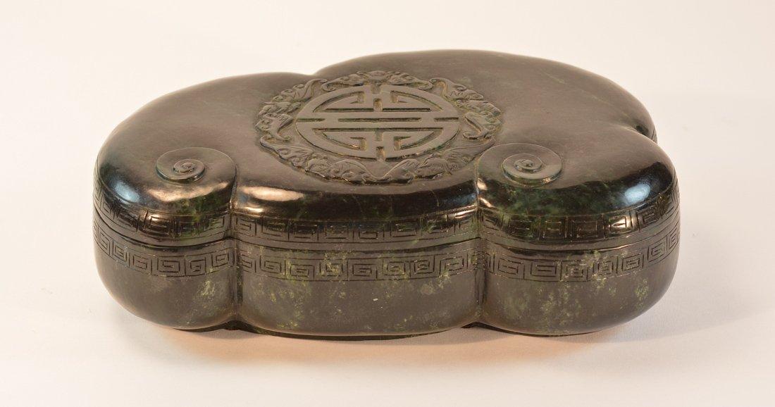 Chinese Spinach Jade Ruyi and Bat Box