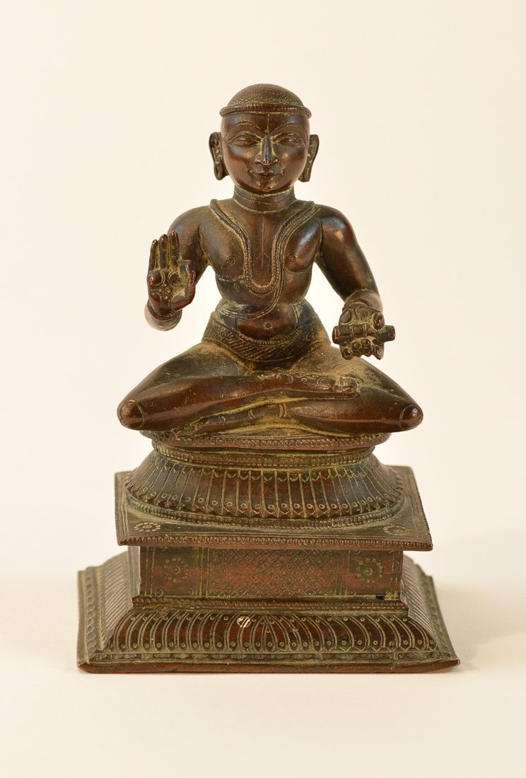 Indian Bronze Seated Priest on Square Base
