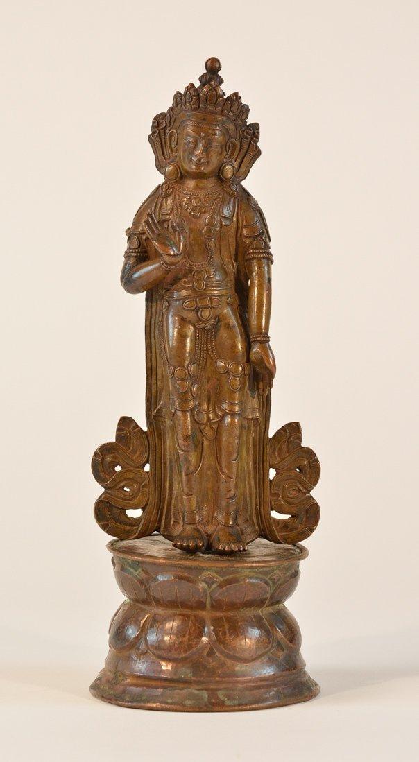 Tbetan Standing Bronze Figurine on Double Lotus Base