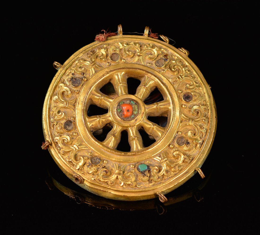 Tibetan Gilt Bronze Praying Wheel