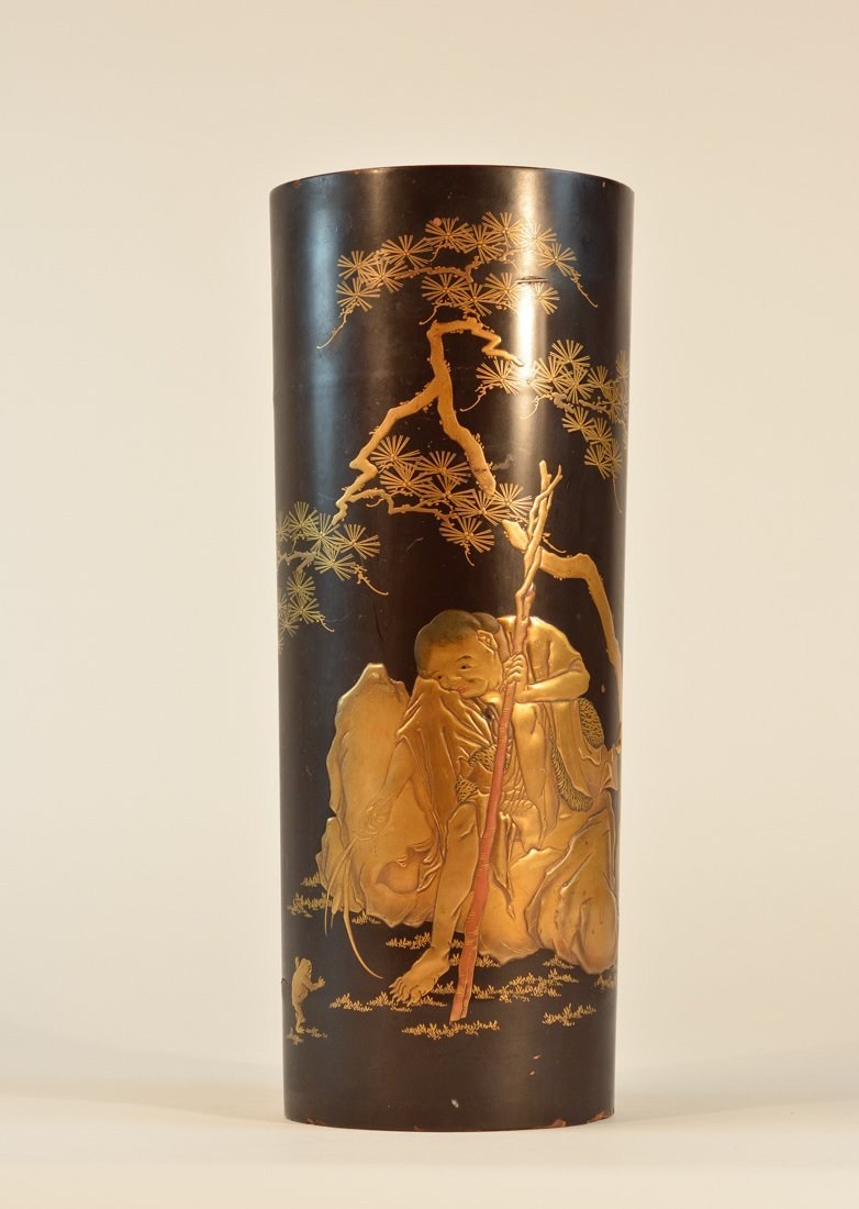 Japanese Lacqered Vase with Boy and Toad Scene