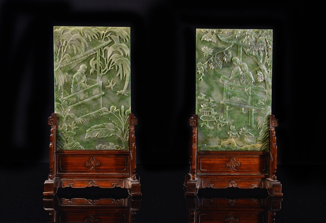 Pair Chinese Spinach Green Jade Table Screen