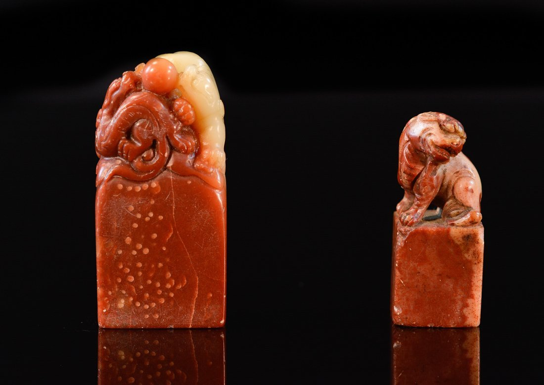 Two Chinese Soapstone Seals with Animal Finial