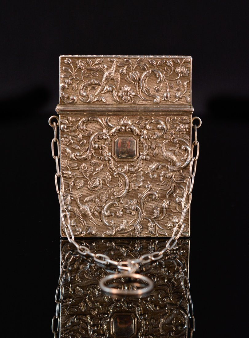 Chinese Export Silver Card Case of Mythical Bird Motif