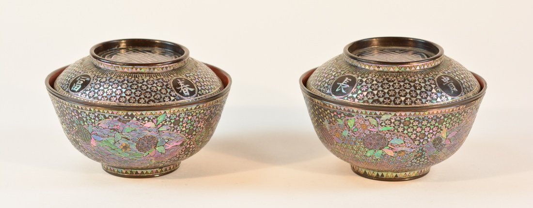 Pair Chinese Lac Bur Tate Bowls with Mother of Pearl