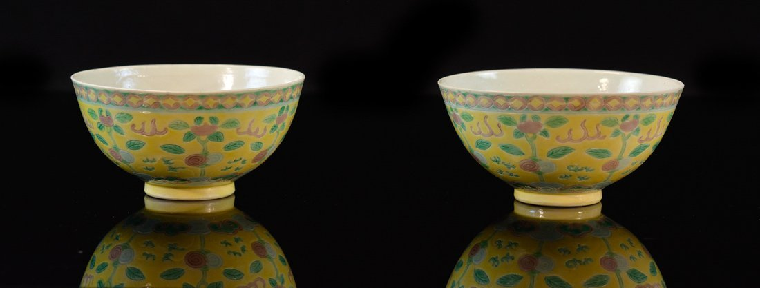 Pair Chinese Porcelain Bowls with Dragon and Berry