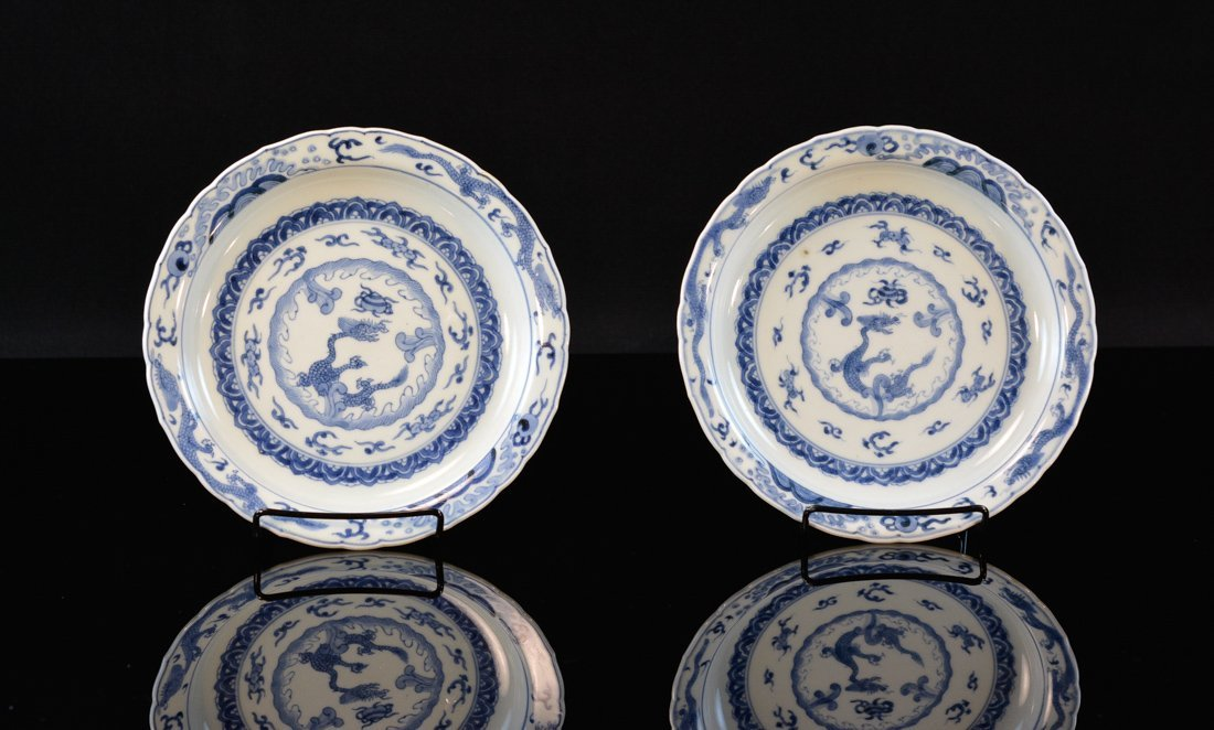 Pair Chinese Blue White Porcelain Dishes with Dragon
