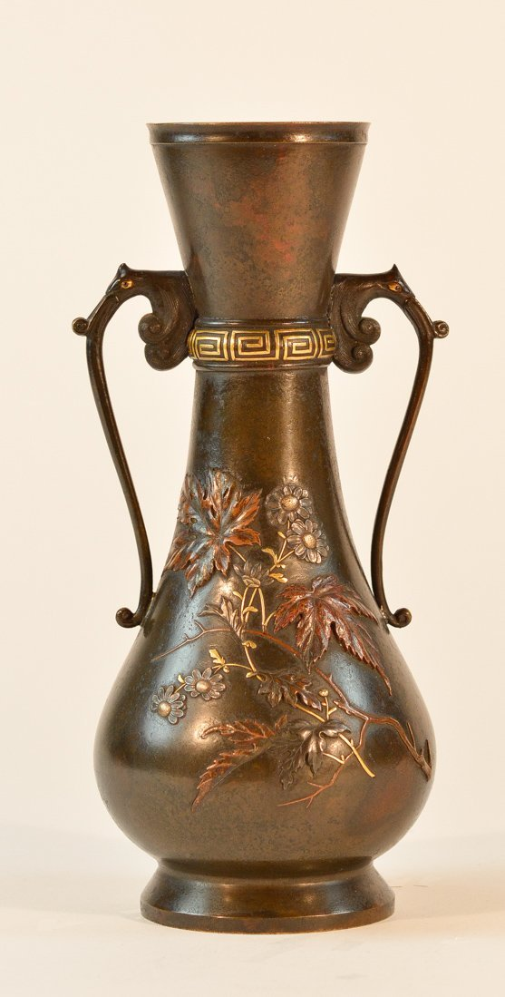 Japanese Mixed Metal vase with Floral Motif