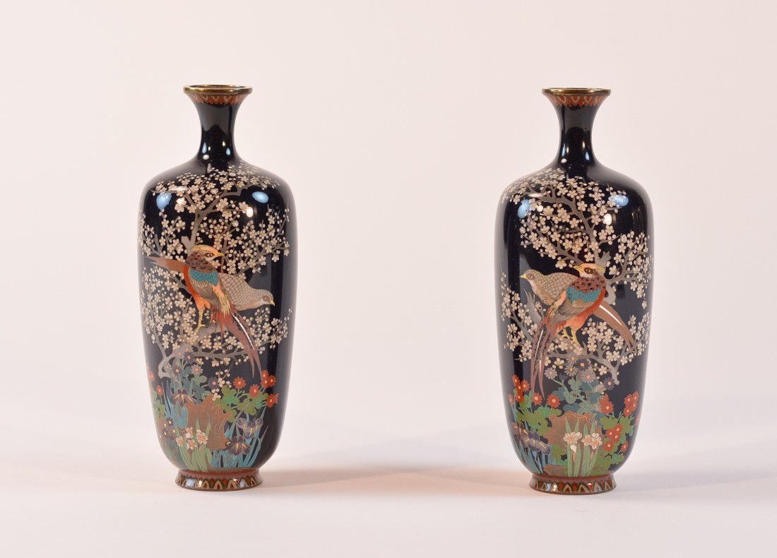 Pair Signed Japanese Cloisonné Vase of Pheasants in