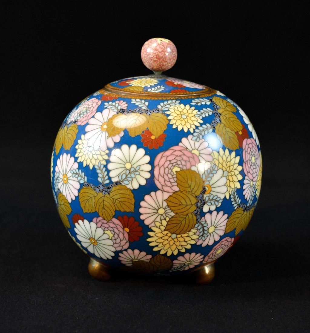 Japanese Cloisonné Koro Censer of Milifloral Motif