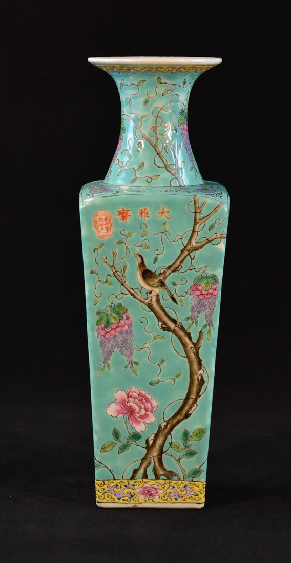Chinese Square Porcelain Vase with Wisteria Motif