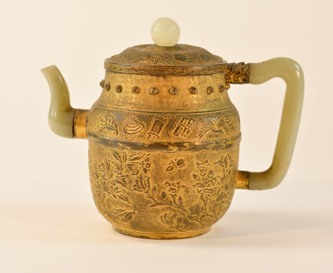 Chinese Gilt Bronze Teapot with Jade Handle and Spout