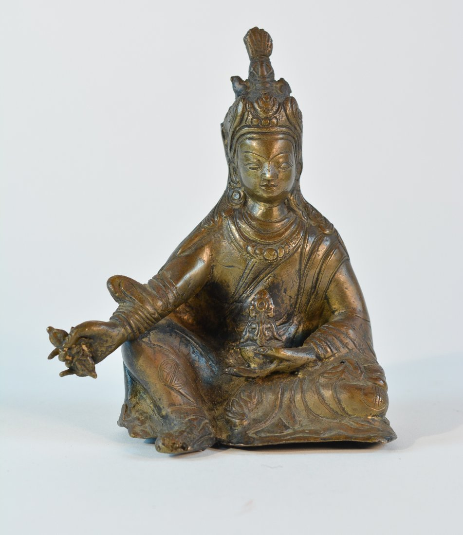 Nepal Seated Bronze Lama with Dorja