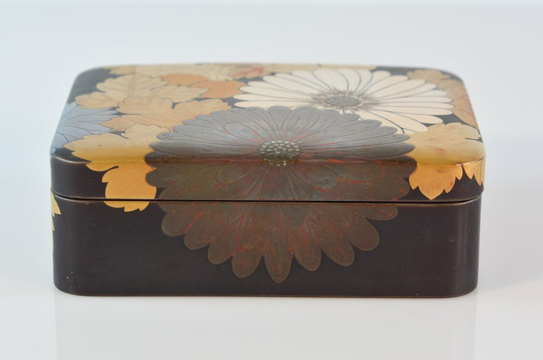 Japanese Lacquer Box with Floral Motif
