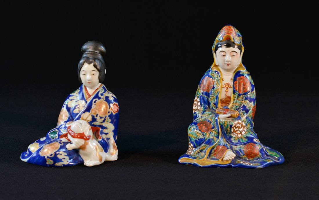 Two Japanese Kutani Seated Porcelain Figurine