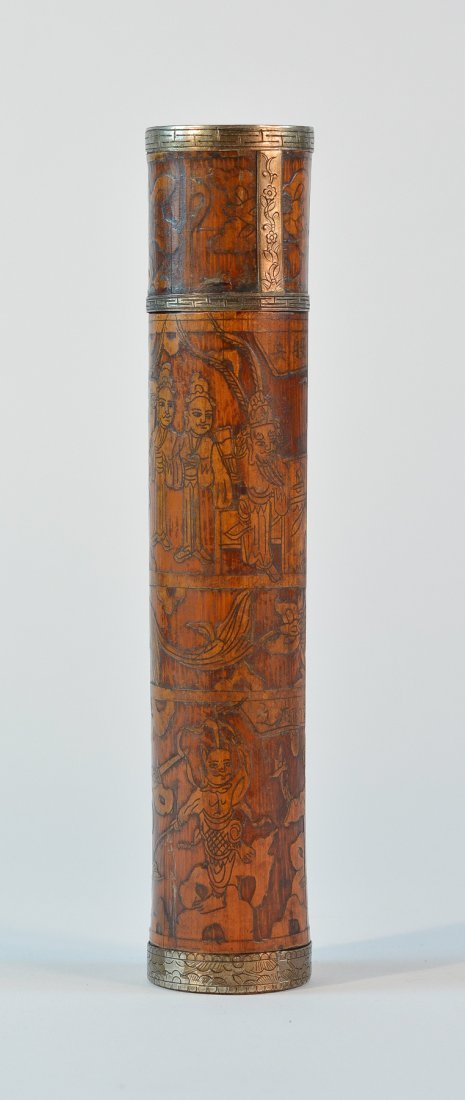 Chinese Bamboo Cylindrical Box with Figural Scene