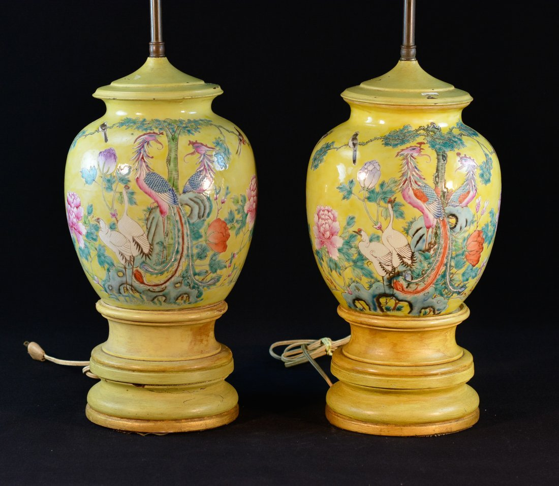 Pair Chinese Yellow Porcelain Vases