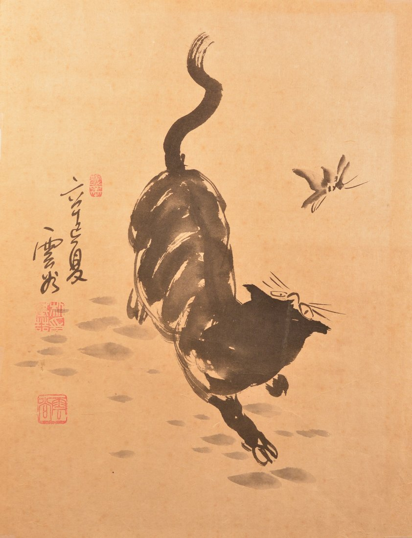 Chinese Painting of a Cat Chasing Butterfly