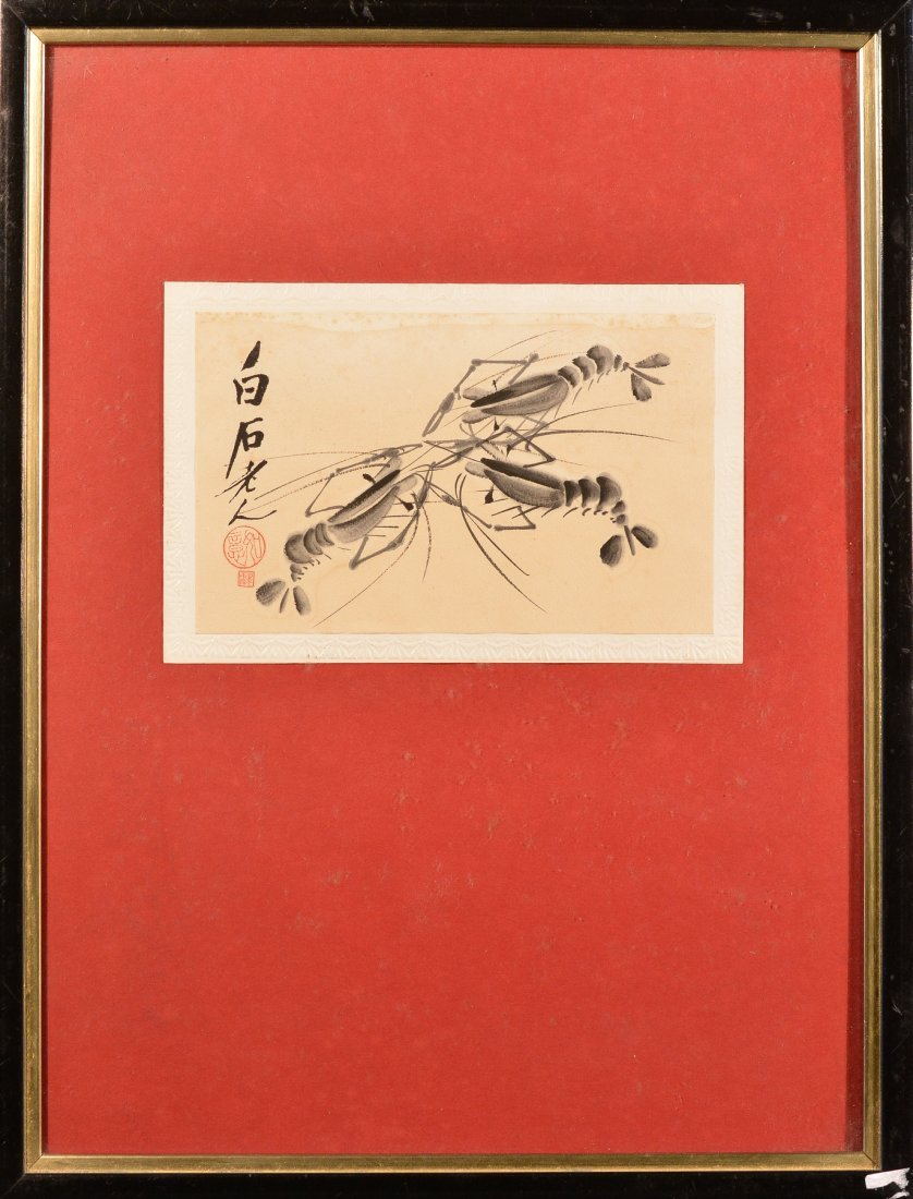 Chinese Poster Card Painting of Shrimp Scene