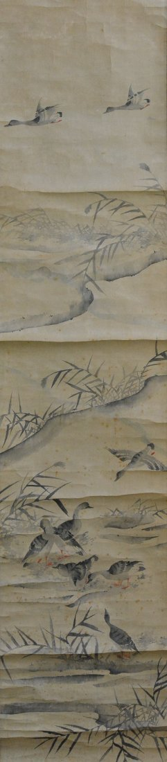 Asian Scroll Painting of Goose Scene