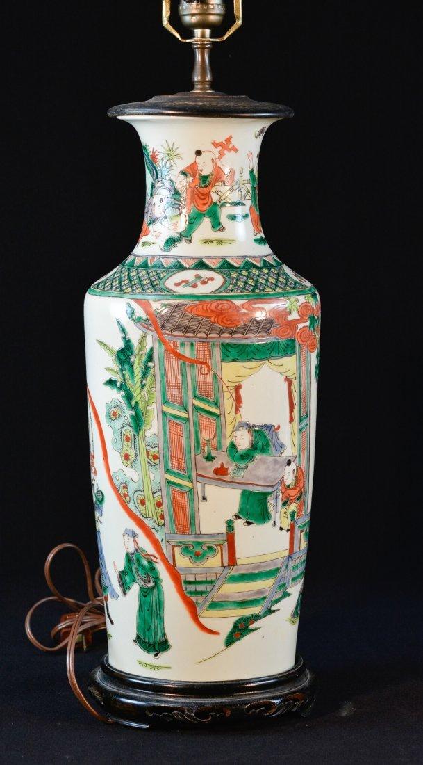 Chinese Famille Verte Porcelain Blauster Vase