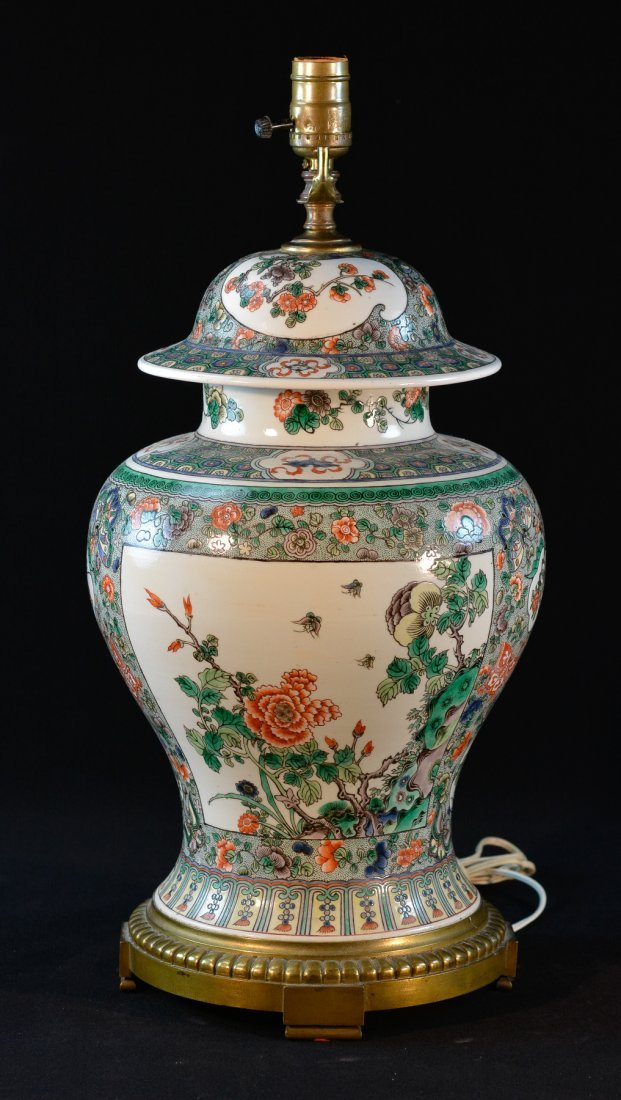 Chinese Famille Verte Covered Jar