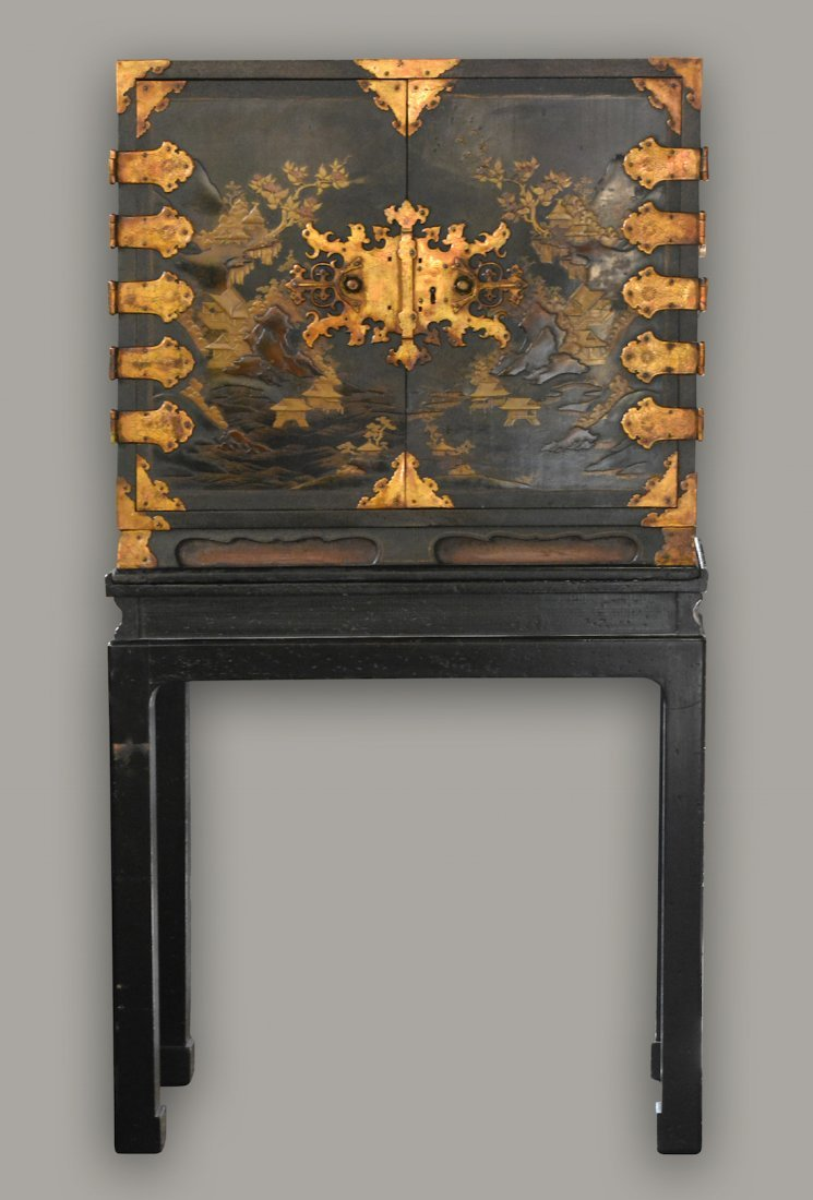 Chinese Japanese Export Lacquer Cabinet