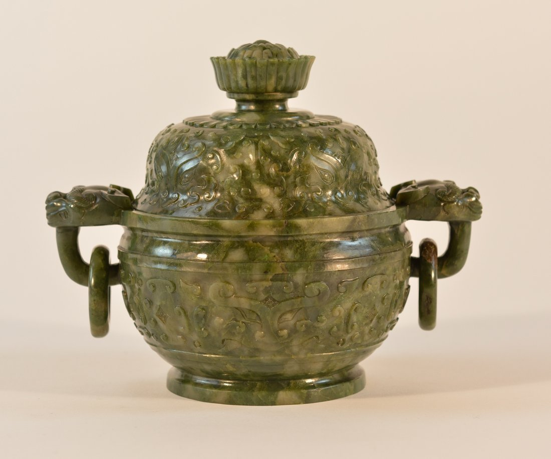 Chinese Spinach Green Jade Censer with Moghul Mom