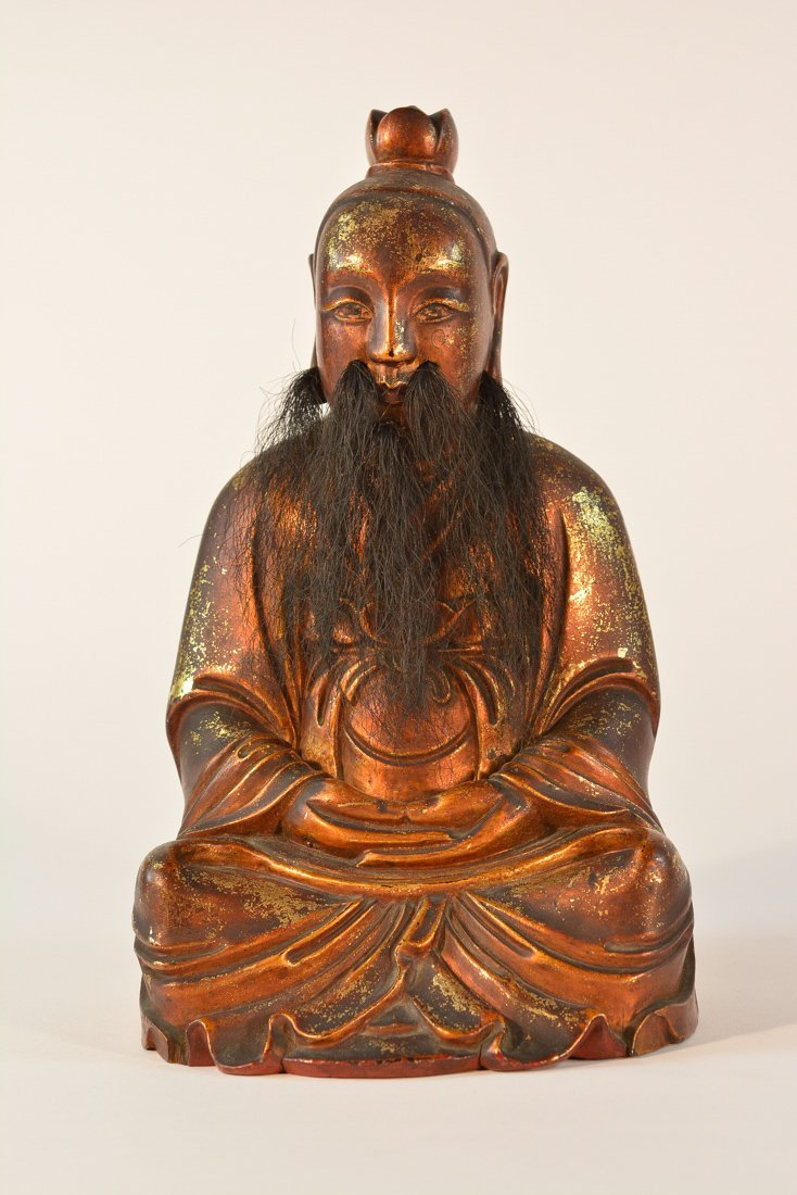 Chinese Lacquer on Wood Seated Daoist Figurine