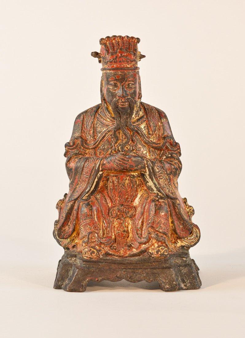 Chinese Ming Seated Bronze Daoist Figurine