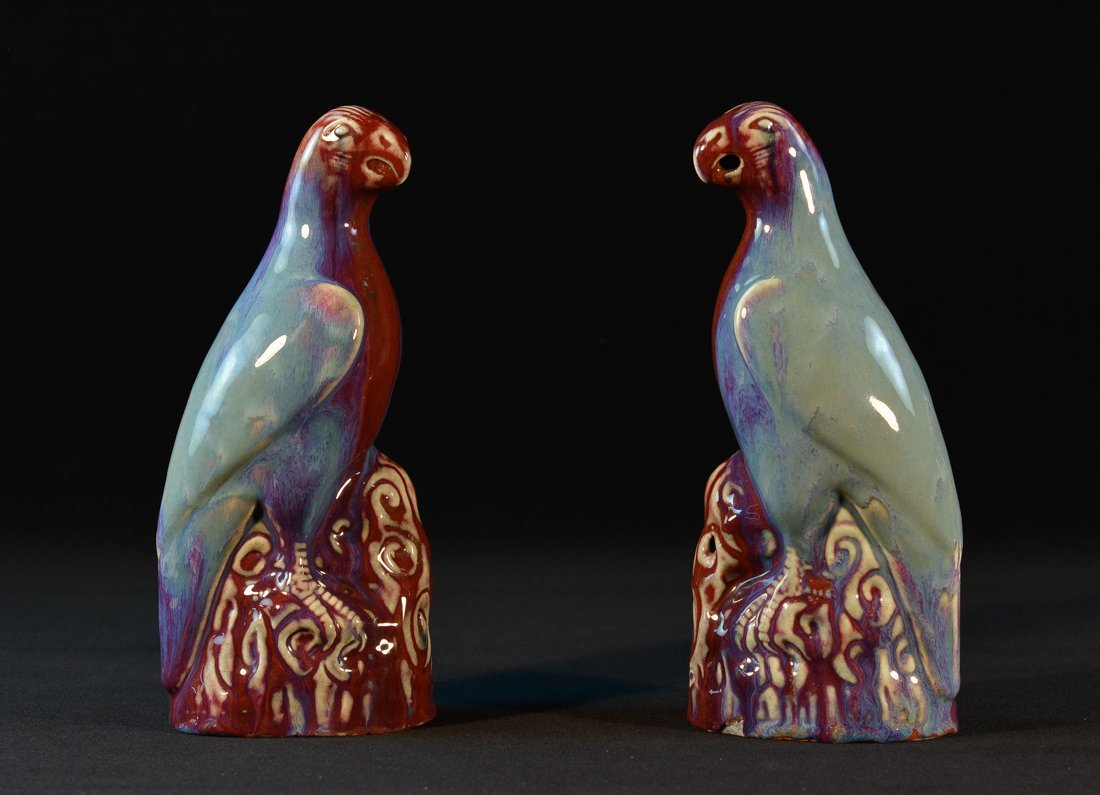 Pair Chinese Flambe Glazed Porcelain Parrots