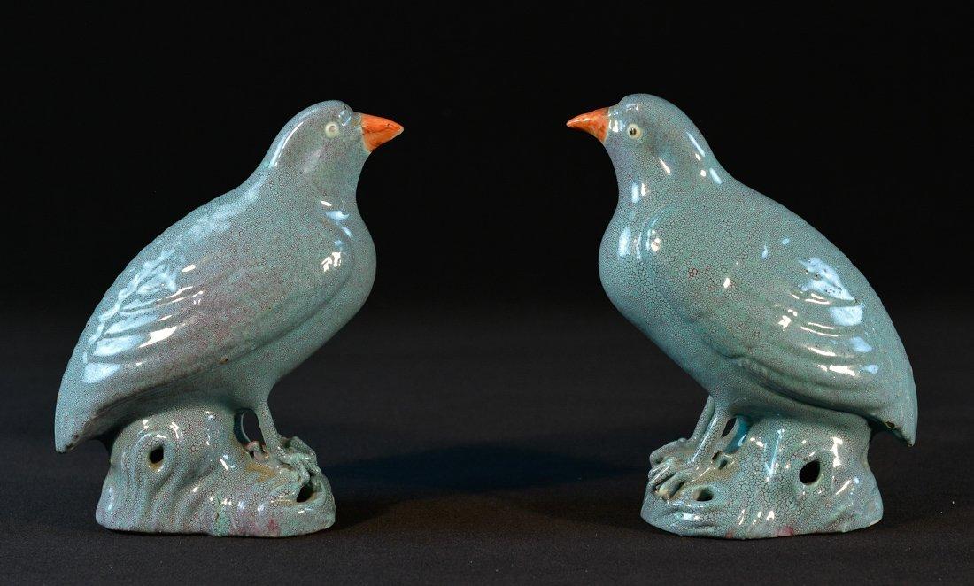 Pair Robin Egg Blue Glazed Porcelain Bird