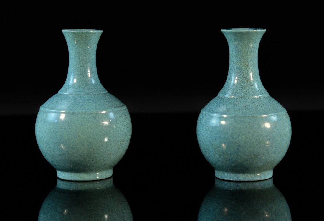 Pair Chinese Robin Eggs Blue Porcelain Vases