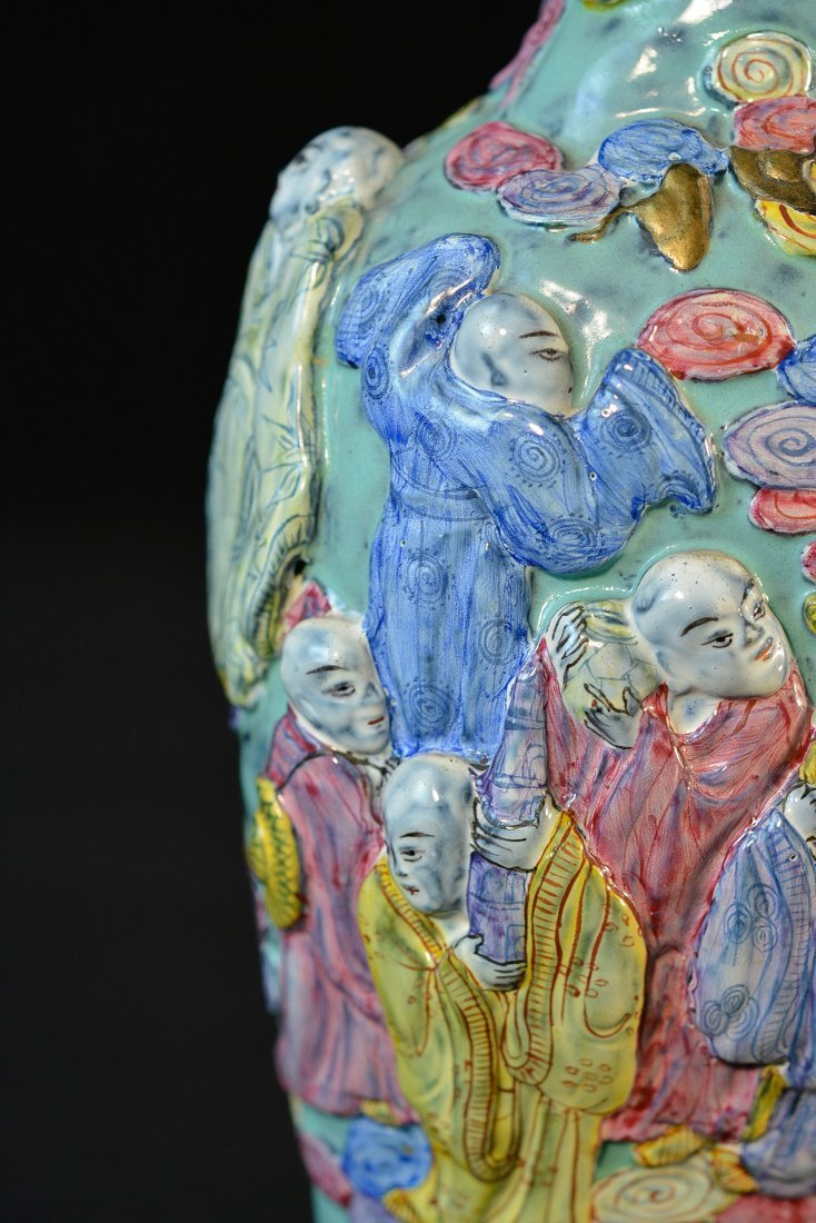 Chinese Famille Rose Porcelain Vase with Lohan Scene - 2