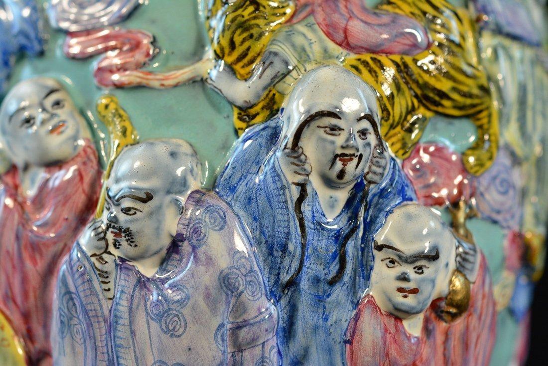 Chinese Famille Rose Porcelain Vase with Lohan Scene - 3