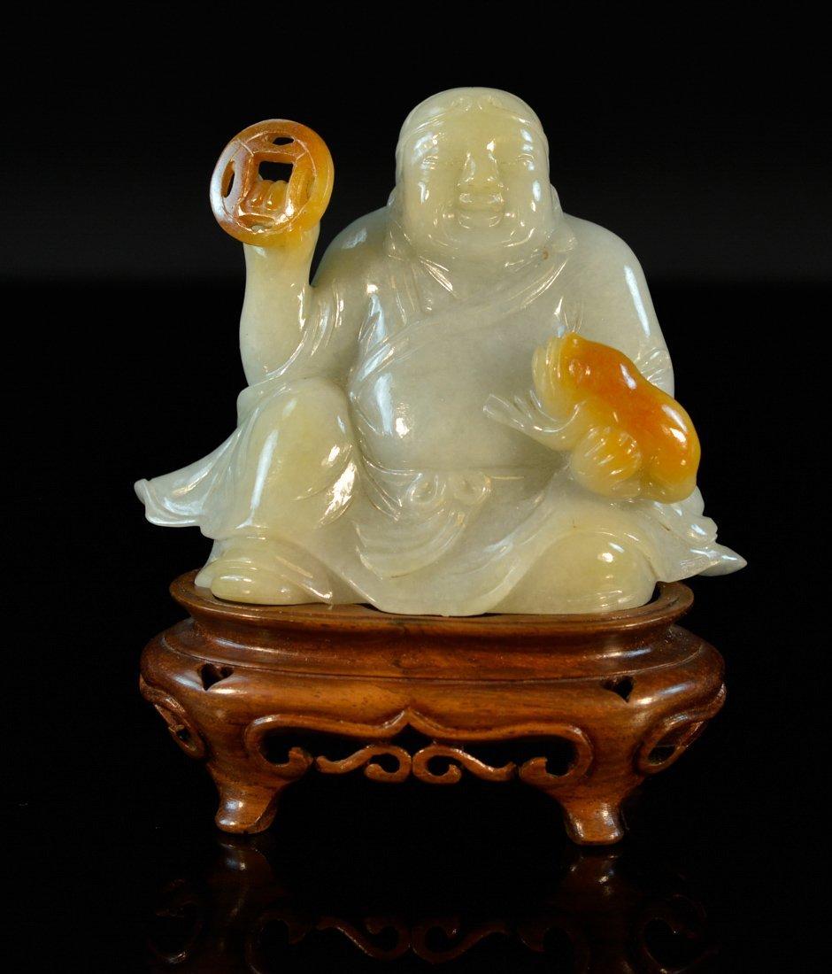 Chinese Jadiete Buddha with Wooden Stand