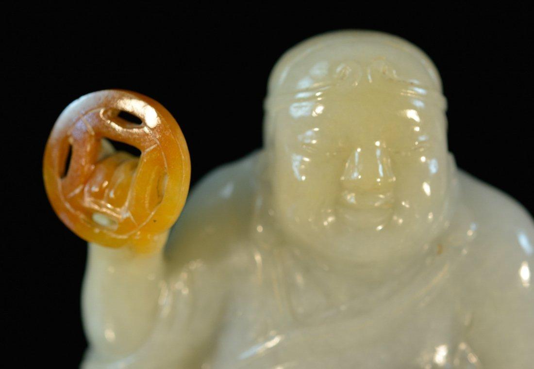 Chinese Jadiete Buddha with Wooden Stand - 2