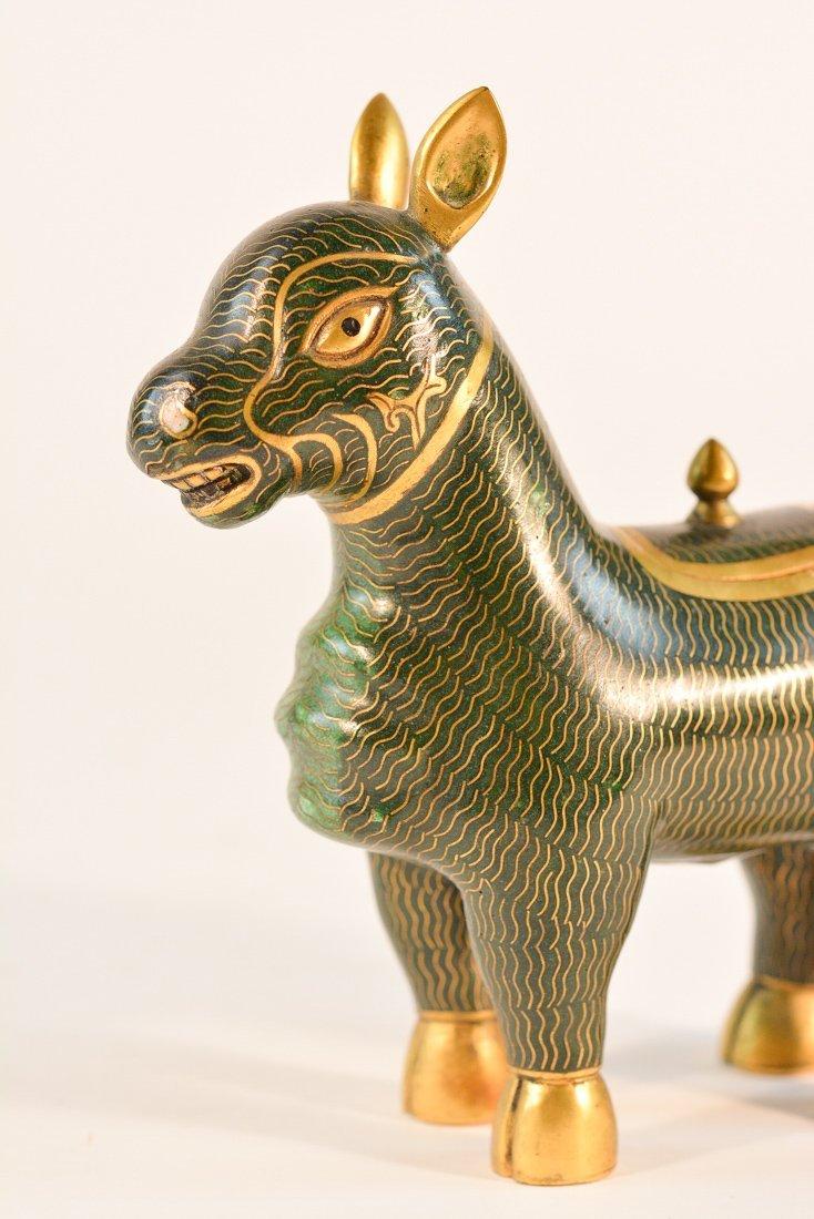 Pair Chinese Cloisonne Buddhist Beast - 5