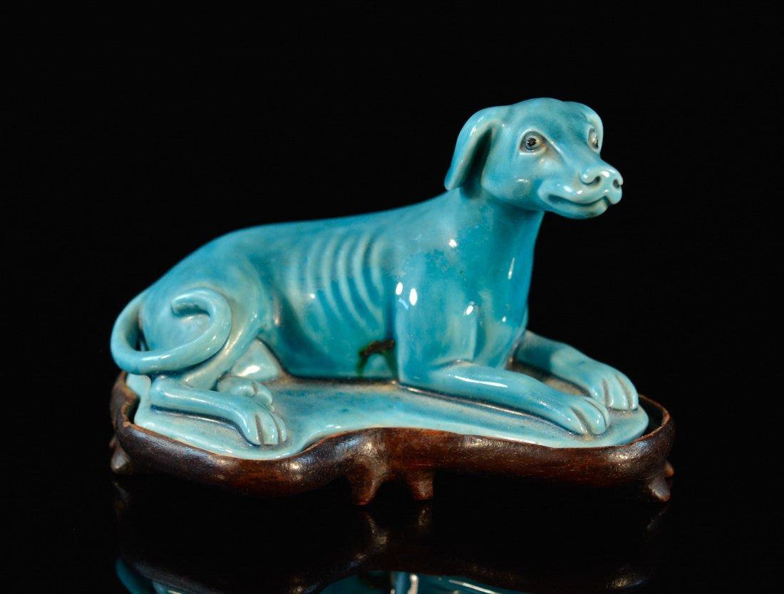 Chinese Blue Glazed Porcelain Grey Hound Dog