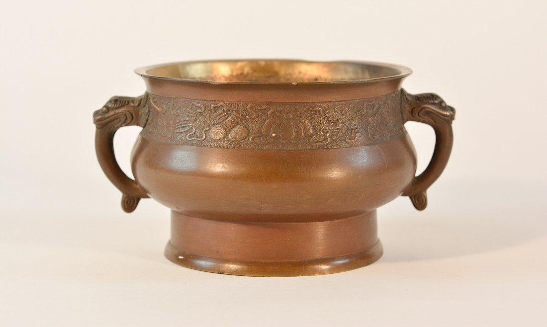 Chinese Bronze Censer with Chased Detail
