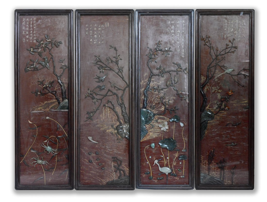 Set of Four Chinese Lacquer Wall Panel with Jadiete
