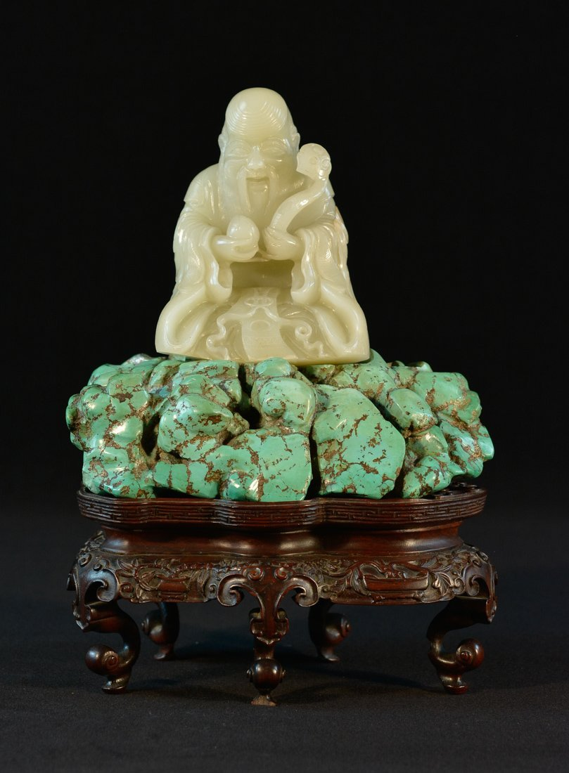 Important Chinese 18th cen White Jade Shoulao