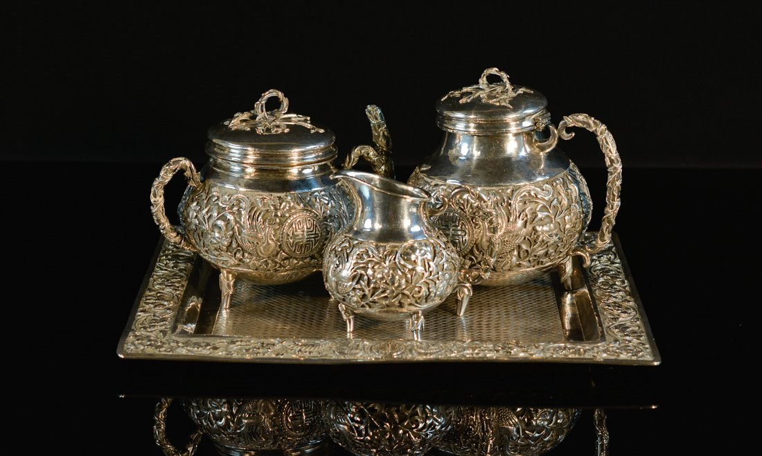 Set of Chinese Export Silver Teaset with Tray