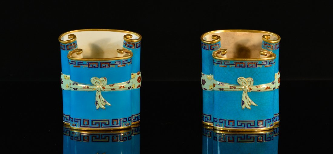 Pair English Blue Porcelain Vases of Scrolled End