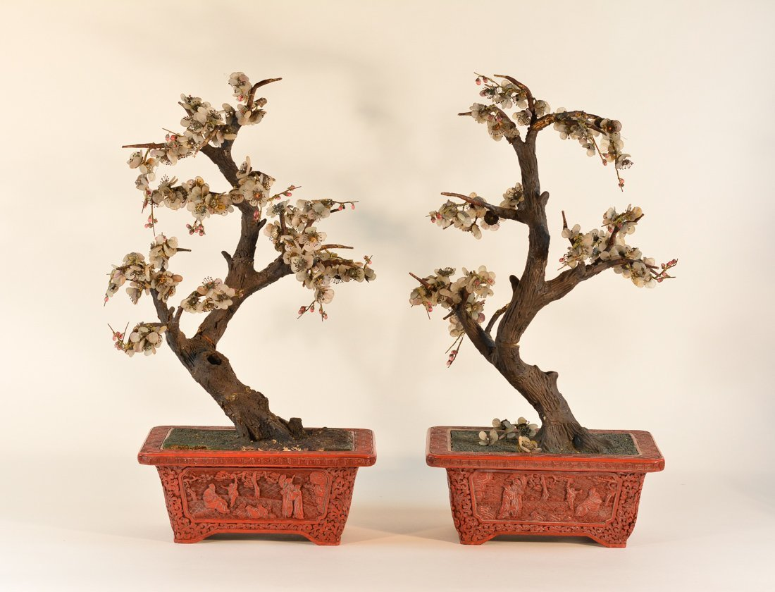 Pair of Chinese Cinnebar Planter with Jade Flower