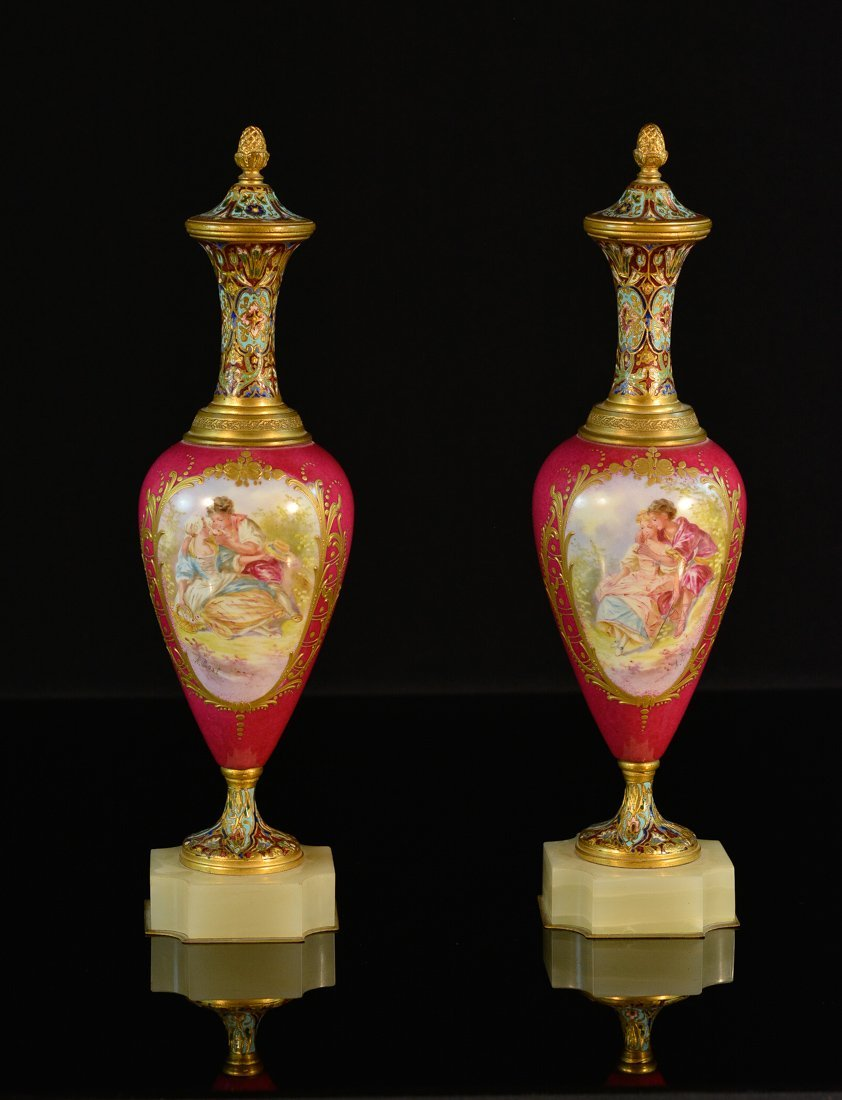 Pair French Serves and Champleve Enamle Vases
