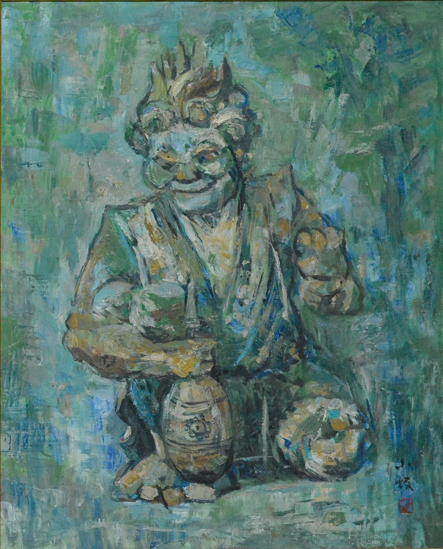 Japanese Oil Painting on Canvas of Oni