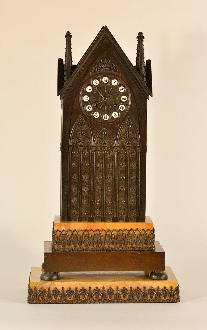 Large Gothic Building Style Clock with Sienna Marble
