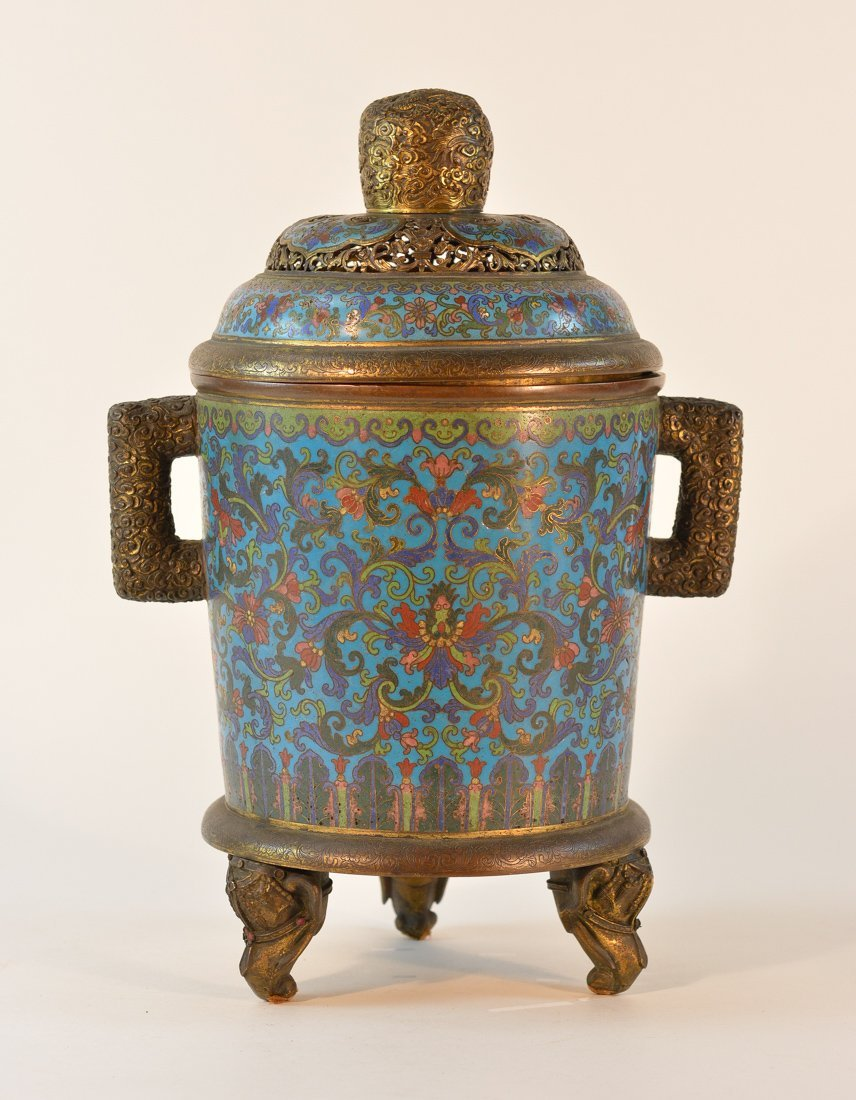 Chinese Imperial Cloisonne Censer with Chasing Detail